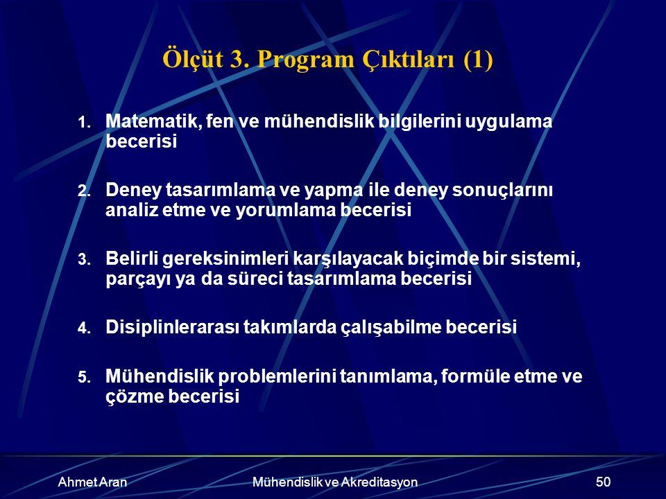 Ahmet AranMühendislik ve Akreditasyon50 Ölçüt 3. Program Çıktıları (1) 1.