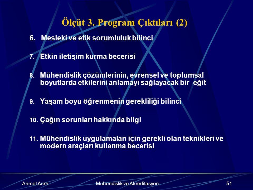 Ahmet AranMühendislik ve Akreditasyon51 Ölçüt 3. Program Çıktıları (2) 6.