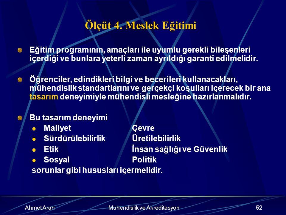 Ahmet AranMühendislik ve Akreditasyon52 Ölçüt 4.