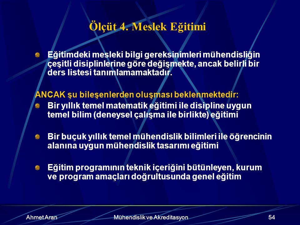 Ahmet AranMühendislik ve Akreditasyon54 Ölçüt 4.