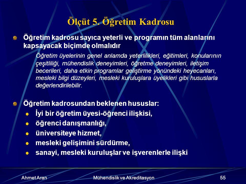 Ahmet AranMühendislik ve Akreditasyon55 Ölçüt 5.