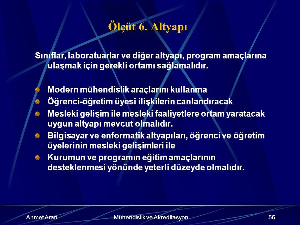 Ahmet AranMühendislik ve Akreditasyon56 Ölçüt 6.