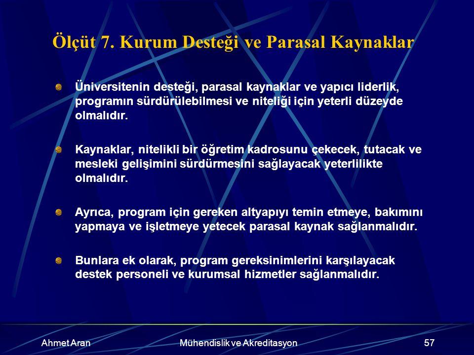 Ahmet AranMühendislik ve Akreditasyon57 Ölçüt 7.