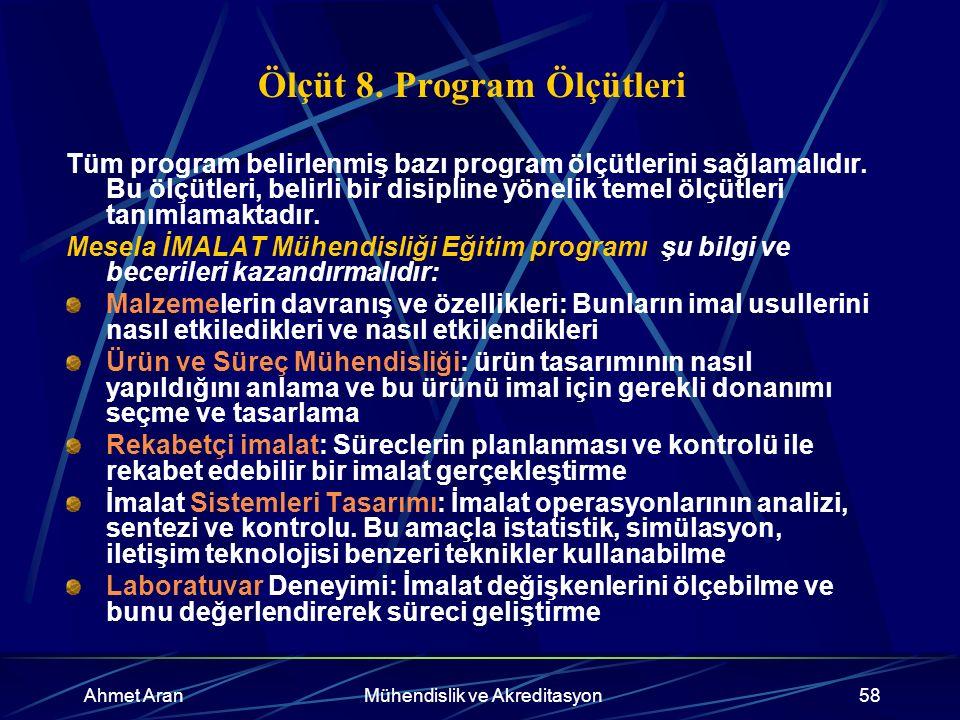 Ahmet AranMühendislik ve Akreditasyon58 Ölçüt 8.