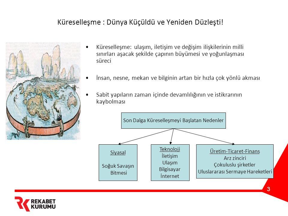 14 Rekabet ve Bütünleşme: Rekabet Kurumu'nun Görevi Piyasa ekonomisinin aksaklıkları rekabet hukuku vasıtasıyla giderilir.