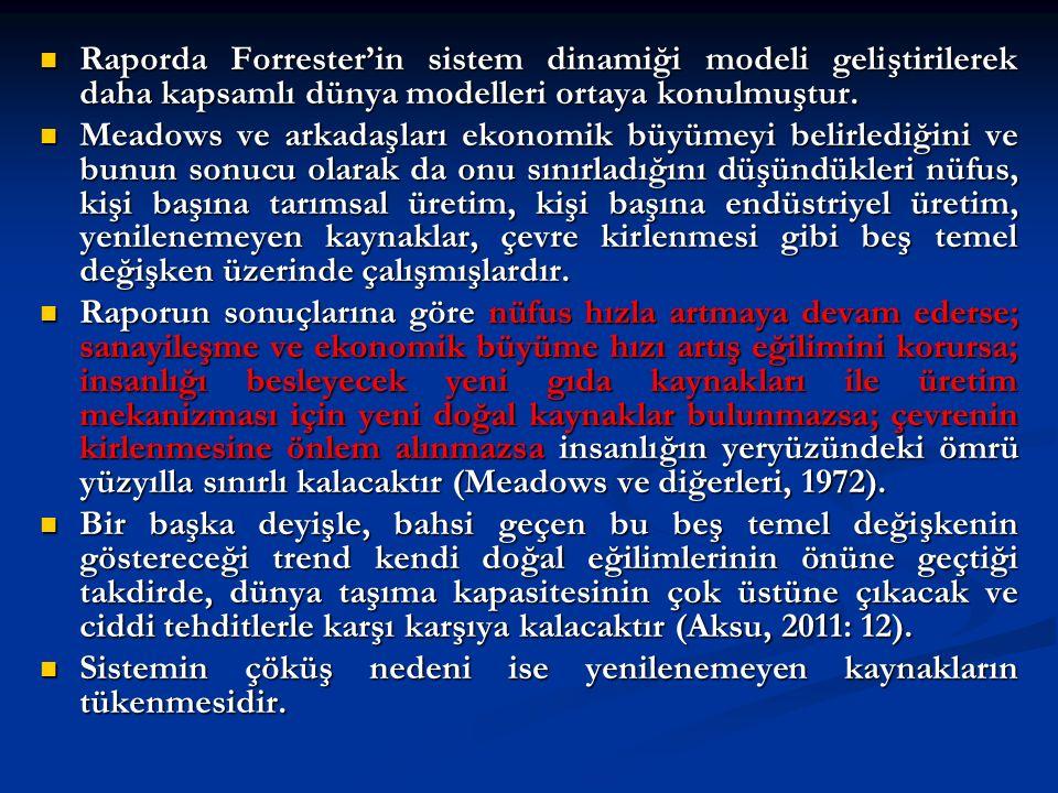 Raporda Forrester'in sistem dinamiği modeli geliştirilerek daha kapsamlı dünya modelleri ortaya konulmuştur.