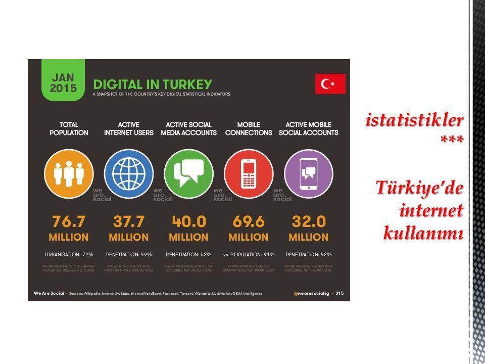 istatistikler *** Türkiye'de internet kullanımı