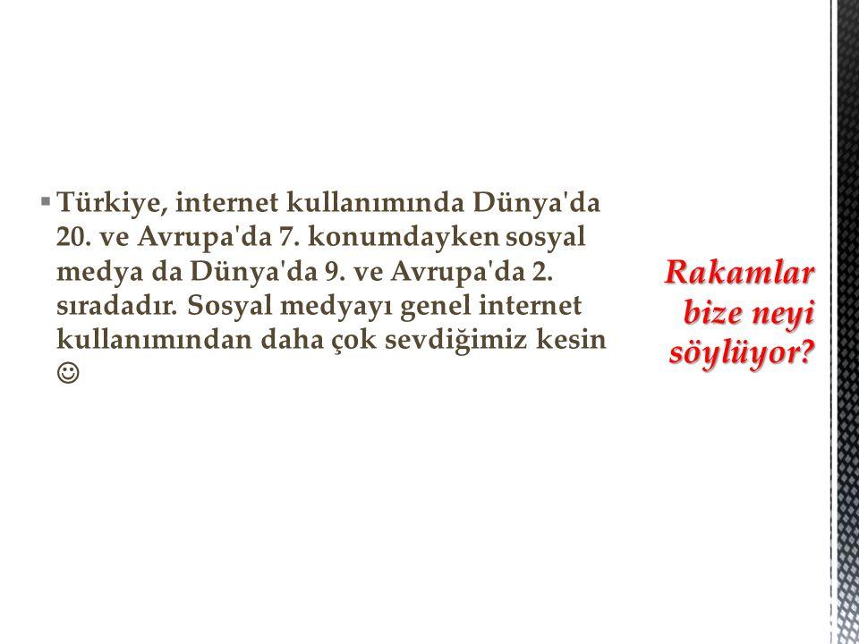  Türkiye, internet kullanımında Dünya da 20. ve Avrupa da 7.