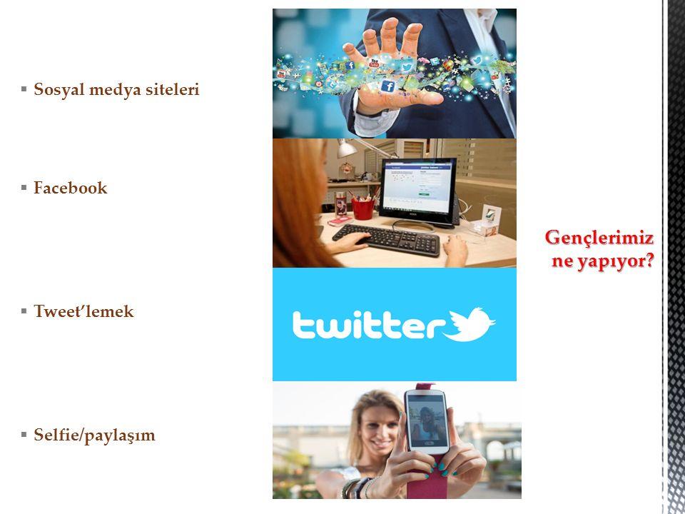  Sosyal medya siteleri  Facebook  Tweet'lemek  Selfie/paylaşım Gençlerimiz ne yapıyor