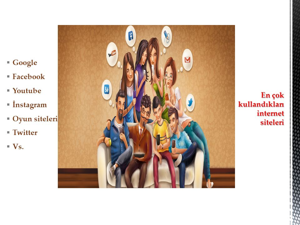  Google  Facebook  Youtube  İnstagram  Oyun siteleri  Twitter  Vs.