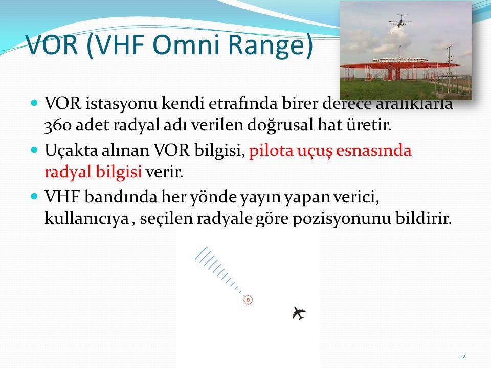 VOR (VHF Omni Range) VOR istasyonu kendi etrafında birer derece aralıklarla 360 adet radyal adı verilen doğrusal hat üretir.