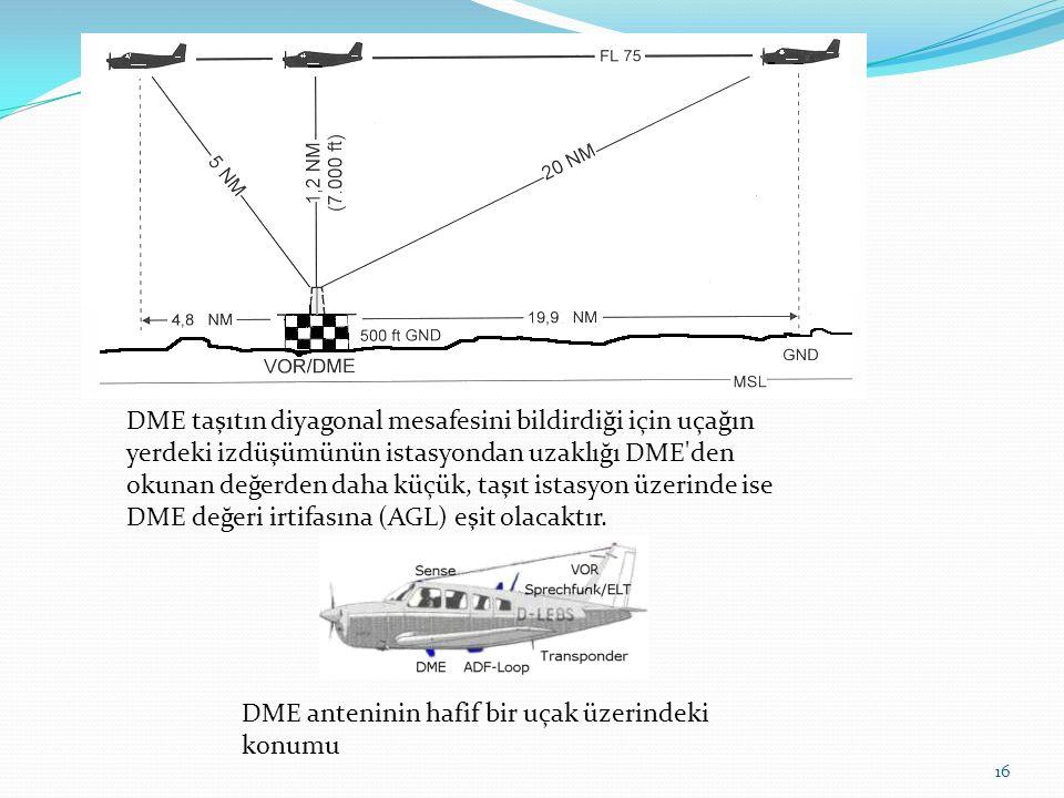 16 DME taşıtın diyagonal mesafesini bildirdiği için uçağın yerdeki izdüşümünün istasyondan uzaklığı DME den okunan değerden daha küçük, taşıt istasyon üzerinde ise DME değeri irtifasına (AGL) eşit olacaktır.