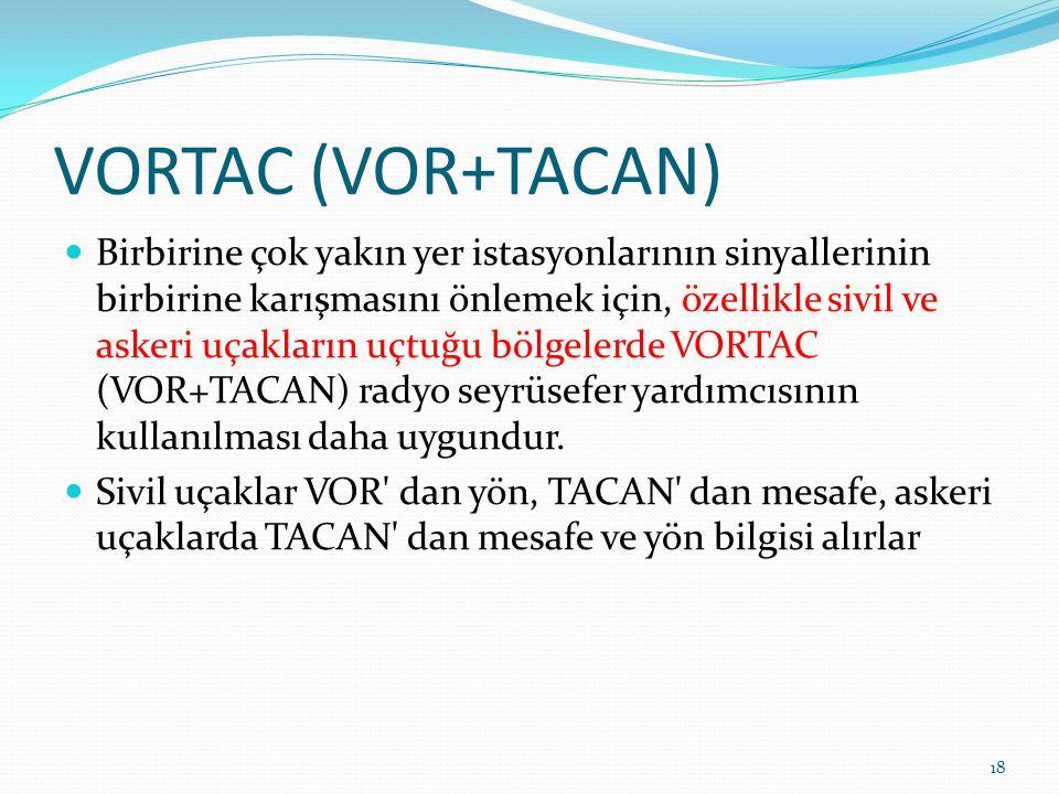 VORTAC (VOR+TACAN) Birbirine çok yakın yer istasyonlarının sinyallerinin birbirine karışmasını önlemek için, özellikle sivil ve askeri uçakların uçtuğu bölgelerde VORTAC (VOR+TACAN) radyo seyrüsefer yardımcısının kullanılması daha uygundur.