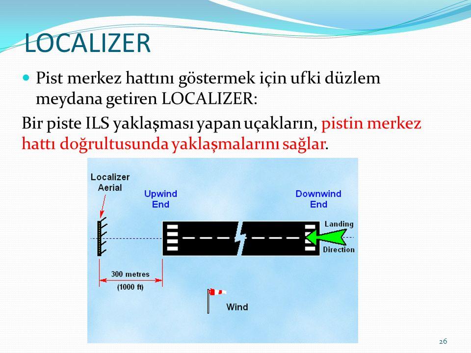 LOCALIZER Pist merkez hattını göstermek için ufki düzlem meydana getiren LOCALIZER: Bir piste ILS yaklaşması yapan uçakların, pistin merkez hattı doğrultusunda yaklaşmalarını sağlar.