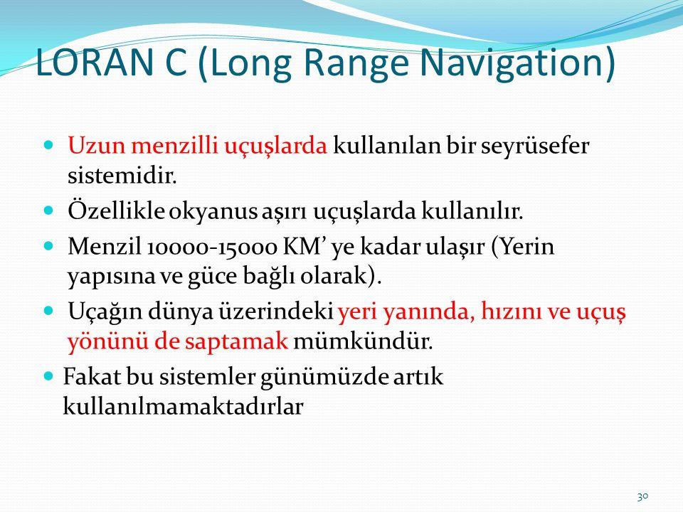 LORAN C (Long Range Navigation) Uzun menzilli uçuşlarda kullanılan bir seyrüsefer sistemidir.