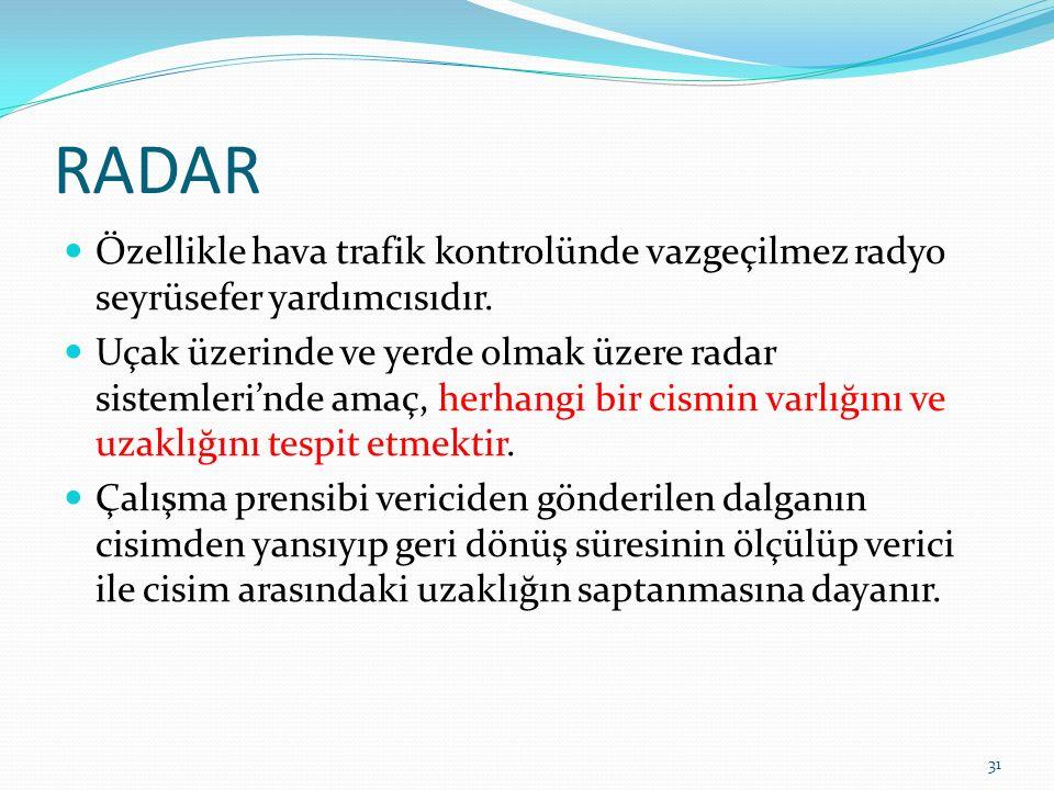 RADAR Özellikle hava trafik kontrolünde vazgeçilmez radyo seyrüsefer yardımcısıdır.