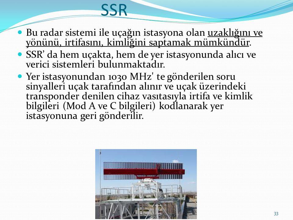 SSR Bu radar sistemi ile uçağın istasyona olan uzaklığını ve yönünü, irtifasını, kimliğini saptamak mümkündür.