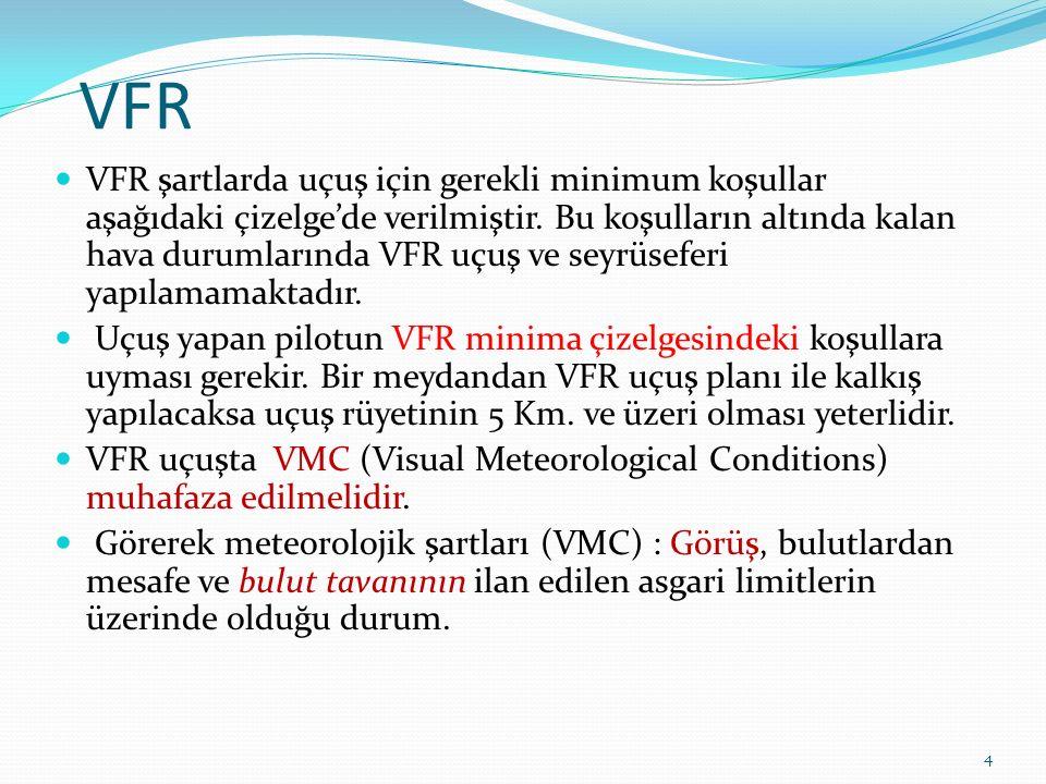 VFR VFR şartlarda uçuş için gerekli minimum koşullar aşağıdaki çizelge'de verilmiştir.