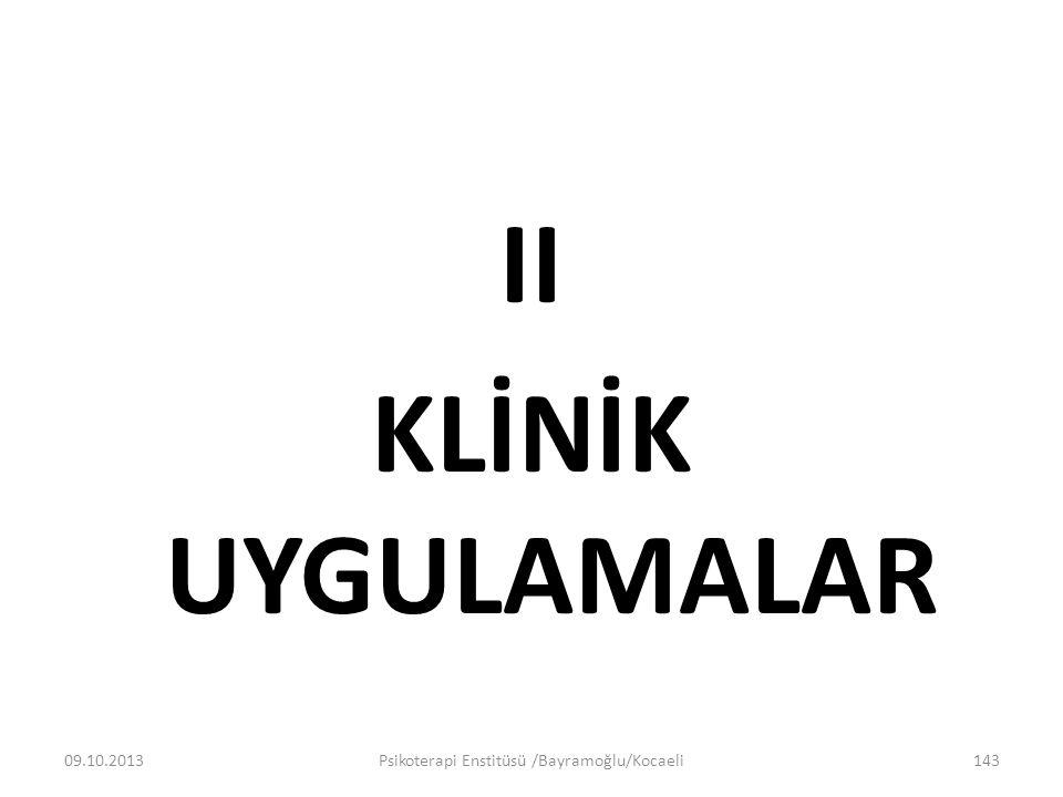 II KLİNİK UYGULAMALAR 09.10.2013Psikoterapi Enstitüsü /Bayramoğlu/Kocaeli143