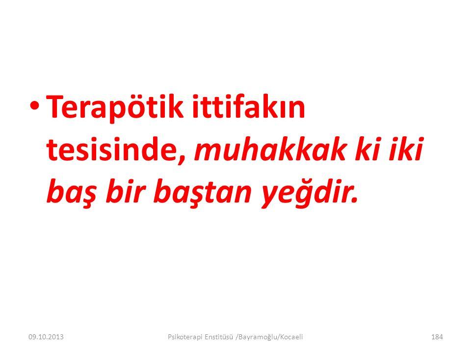 Terapötik ittifakın tesisinde, muhakkak ki iki baş bir baştan yeğdir. 09.10.2013Psikoterapi Enstitüsü /Bayramoğlu/Kocaeli184