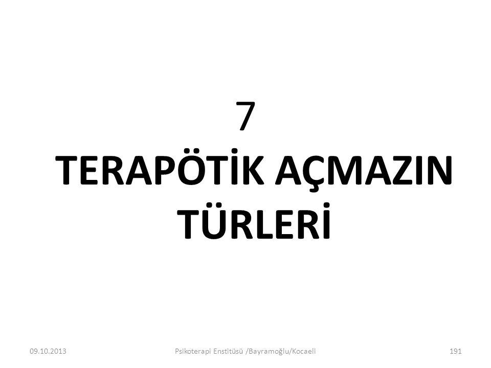 7 TERAPÖTİK AÇMAZIN TÜRLERİ 09.10.2013Psikoterapi Enstitüsü /Bayramoğlu/Kocaeli191
