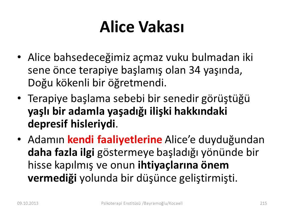 Alice Vakası Alice bahsedeceğimiz açmaz vuku bulmadan iki sene önce terapiye başlamış olan 34 yaşında, Doğu kökenli bir öğretmendi. Terapiye başlama s