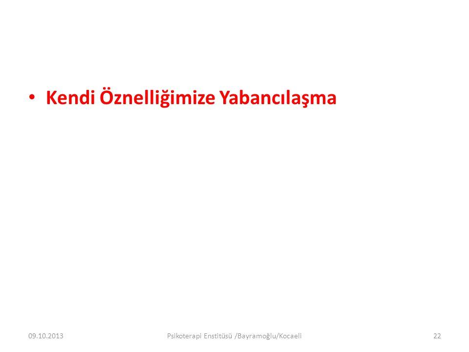 Kendi Öznelliğimize Yabancılaşma 09.10.2013Psikoterapi Enstitüsü /Bayramoğlu/Kocaeli22