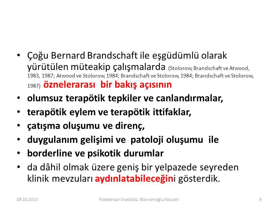 Çoğu Bernard Brandschaft ile eşgüdümlü olarak yürütülen müteakip çalışmalarda (Stolorow, Brandschaft ve Atwood, 1983, 1987; Atwood ve Stolorow, 1984; Brandschaft ve Stolorow, 1984; Brandschaft ve Stolorow, 1987) öznelerarası bir bakış açısının olumsuz terapötik tepkiler ve canlandırmalar, terapötik eylem ve terapötik ittifaklar, çatışma oluşumu ve direnç, duygulanım gelişimi ve patoloji oluşumu ile borderline ve psikotik durumlar da dâhil olmak üzere geniş bir yelpazede seyreden klinik mevzuları aydınlatabileceğini gösterdik.