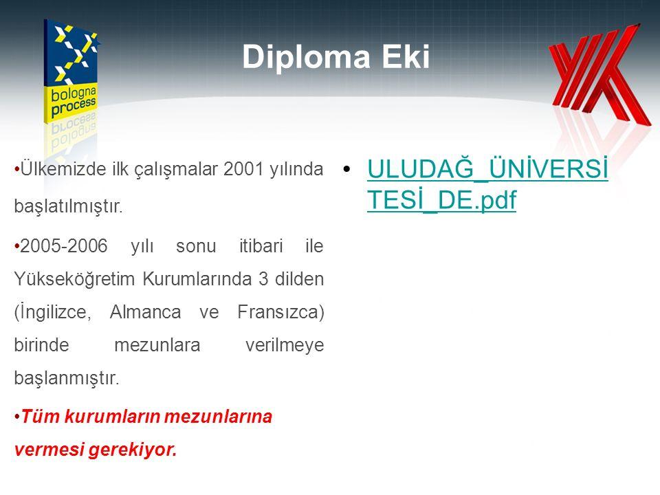 Diploma Eki Ülkemizde ilk çalışmalar 2001 yılında başlatılmıştır.