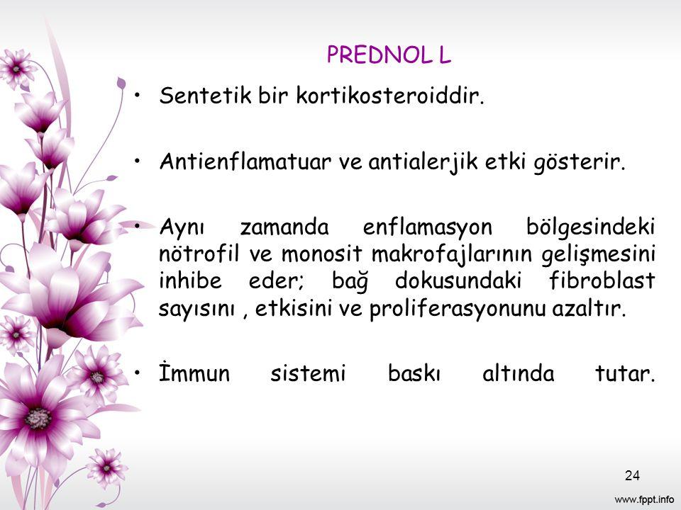 PREDNOL L Sentetik bir kortikosteroiddir. Antienflamatuar ve antialerjik etki gösterir. Aynı zamanda enflamasyon bölgesindeki nötrofil ve monosit makr