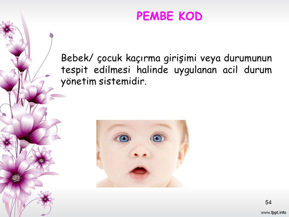 PEMBE KOD Bebek/ çocuk kaçırma girişimi veya durumunun tespit edilmesi halinde uygulanan acil durum yönetim sistemidir. 54