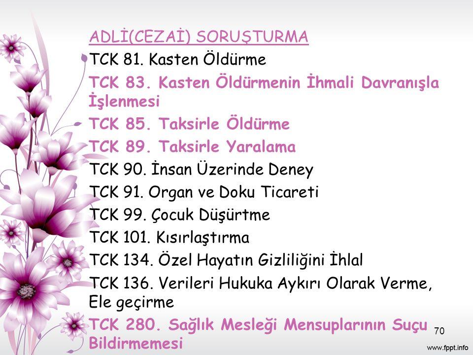ADLİ(CEZAİ) SORUŞTURMA TCK 81. Kasten Öldürme TCK 83.