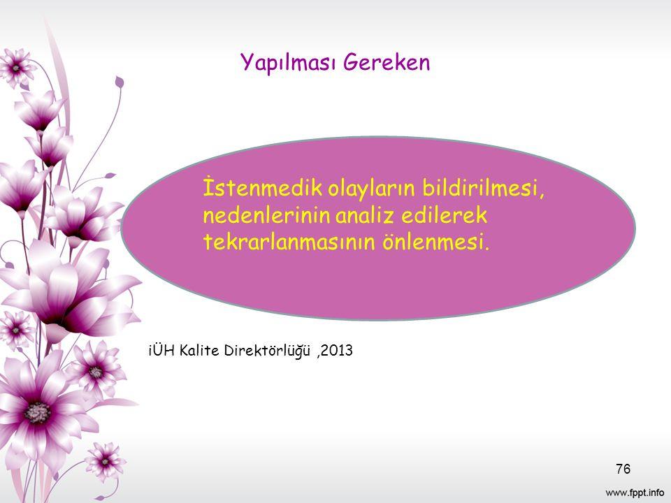Yapılması Gereken iÜH Kalite Direktörlüğü,2013 İstenmedik olayların bildirilmesi, nedenlerinin analiz edilerek tekrarlanmasının önlenmesi.