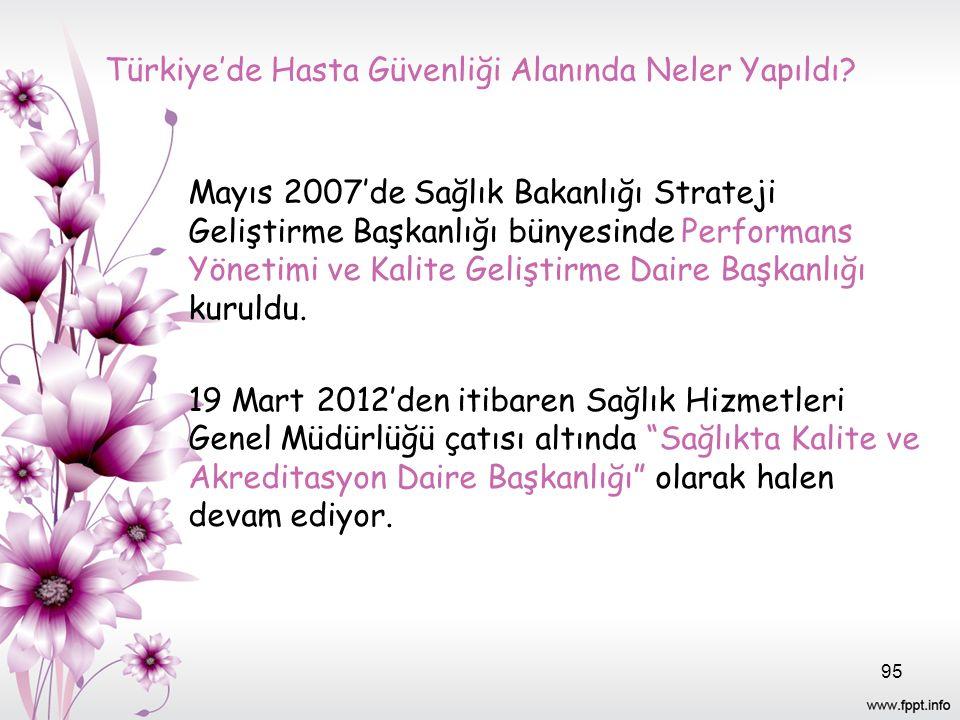 Türkiye'de Hasta Güvenliği Alanında Neler Yapıldı? Mayıs 2007'de Sağlık Bakanlığı Strateji Geliştirme Başkanlığı bünyesinde Performans Yönetimi ve Kal