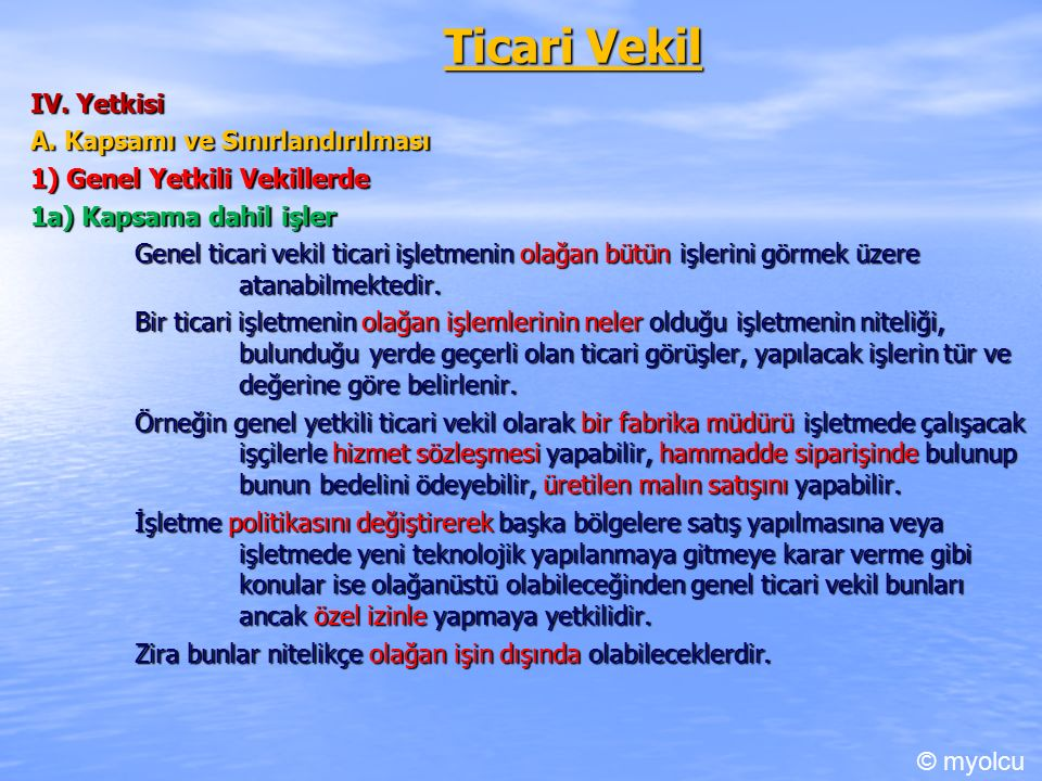 Ticari Vekil IV. Yetkisi A.