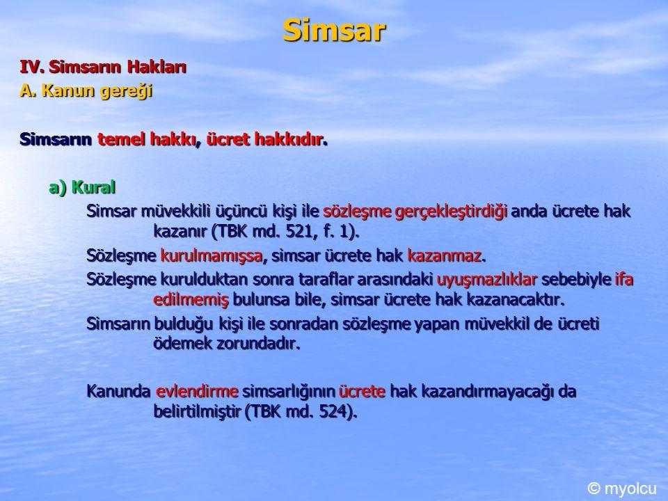 Simsar IV. Simsarın Hakları A. Kanun gereği Simsarın temel hakkı, ücret hakkıdır.