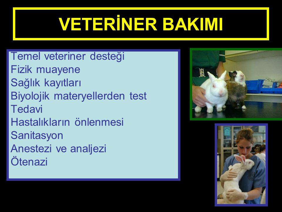 VETERİNER BAKIMI Temel veteriner desteği Fizik muayene Sağlık kayıtları Biyolojik materyellerden test Tedavi Hastalıkların önlenmesi Sanitasyon Anestezi ve analjezi Ötenazi