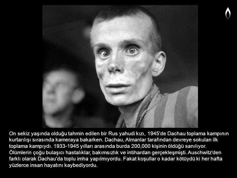 On sekiz yaşında olduğu tahmin edilen bir Rus yahudi kızı, 1945'de Dachau toplama kampının kurtarılışı sırasında kameraya bakarken. Dachau, Almanlar t