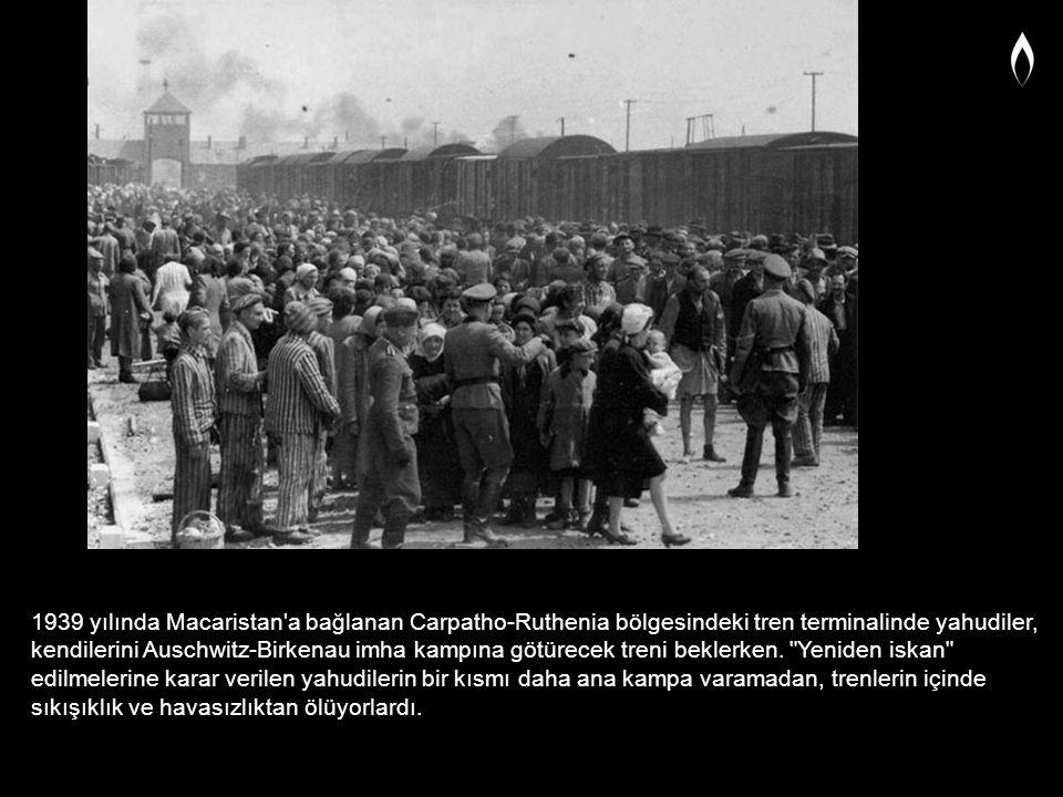 1939 yılında Macaristan'a bağlanan Carpatho-Ruthenia bölgesindeki tren terminalinde yahudiler, kendilerini Auschwitz-Birkenau imha kampına götürecek t
