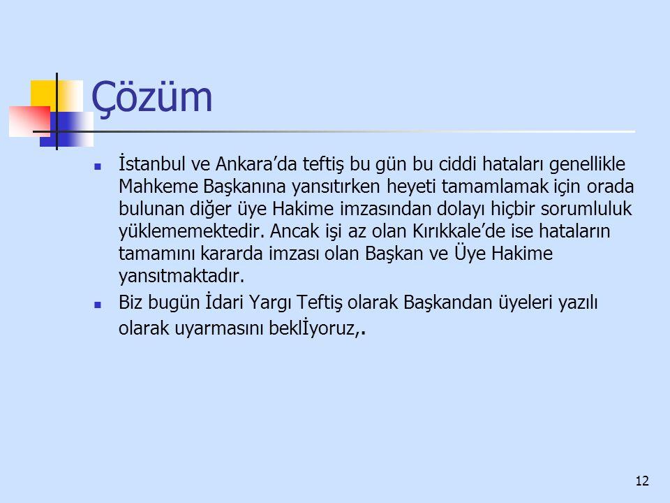 Çözüm İstanbul ve Ankara'da teftiş bu gün bu ciddi hataları genellikle Mahkeme Başkanına yansıtırken heyeti tamamlamak için orada bulunan diğer üye Hakime imzasından dolayı hiçbir sorumluluk yüklememektedir.