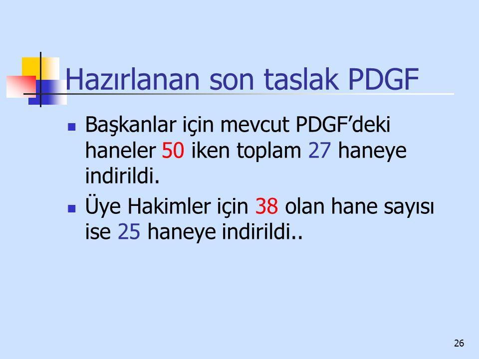 26 Hazırlanan son taslak PDGF Başkanlar için mevcut PDGF'deki haneler 50 iken toplam 27 haneye indirildi. Üye Hakimler için 38 olan hane sayısı ise 25