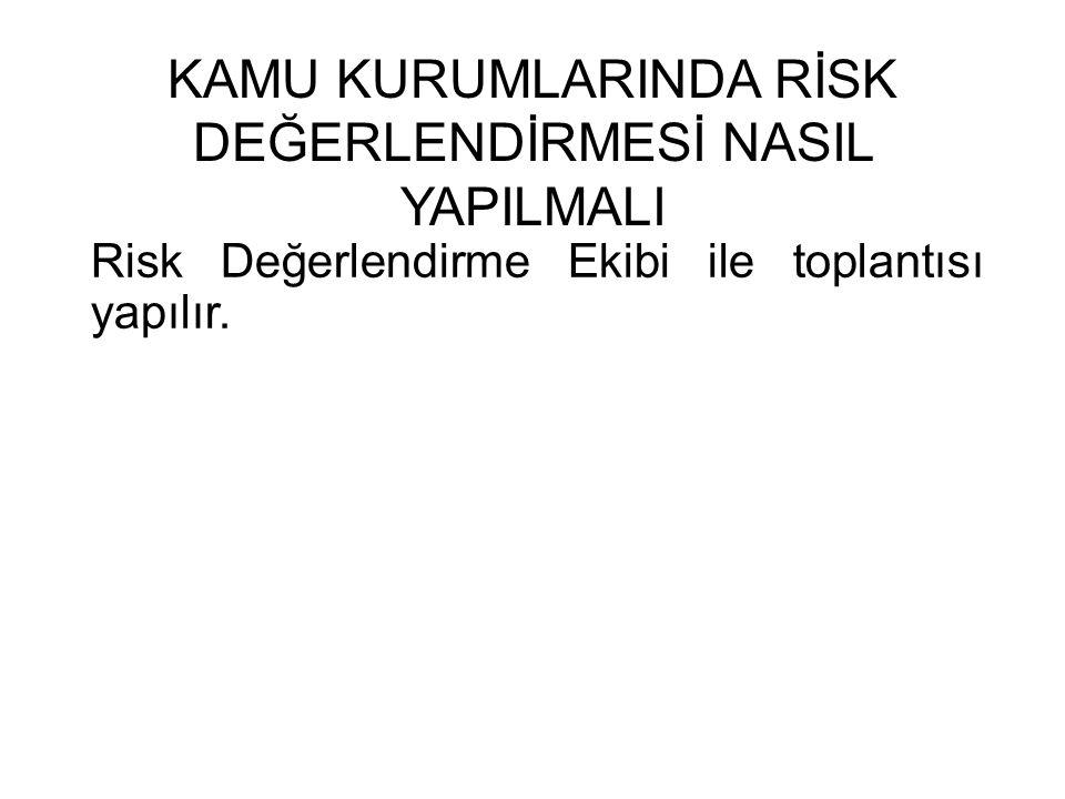 KAMU KURUMLARINDA RİSK DEĞERLENDİRMESİ NASIL YAPILMALI Risk Değerlendirme Ekibi ile toplantısı yapılır.