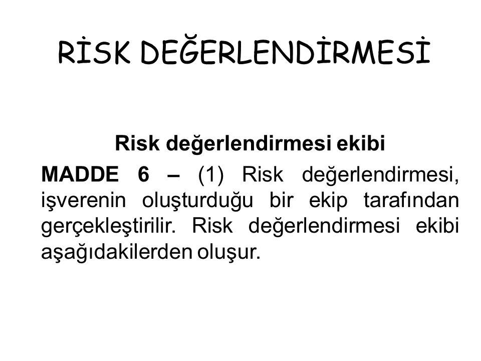 RİSK DEĞERLENDİRMESİ Risk değerlendirmesi ekibi MADDE 6 – (1) Risk değerlendirmesi, işverenin oluşturduğu bir ekip tarafından gerçekleştirilir. Risk d