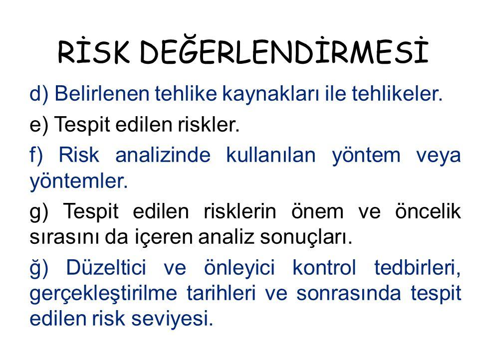RİSK DEĞERLENDİRMESİ d) Belirlenen tehlike kaynakları ile tehlikeler. e) Tespit edilen riskler. f) Risk analizinde kullanılan yöntem veya yöntemler. g