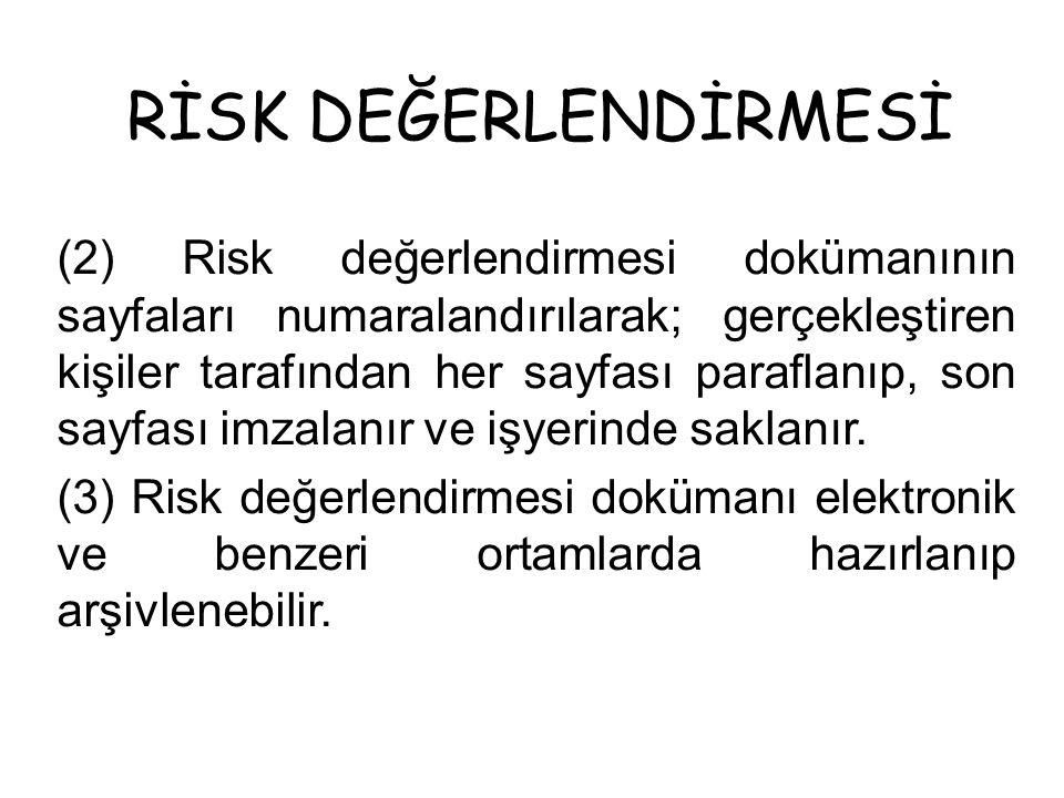 RİSK DEĞERLENDİRMESİ (2) Risk değerlendirmesi dokümanının sayfaları numaralandırılarak; gerçekleştiren kişiler tarafından her sayfası paraflanıp, son sayfası imzalanır ve işyerinde saklanır.