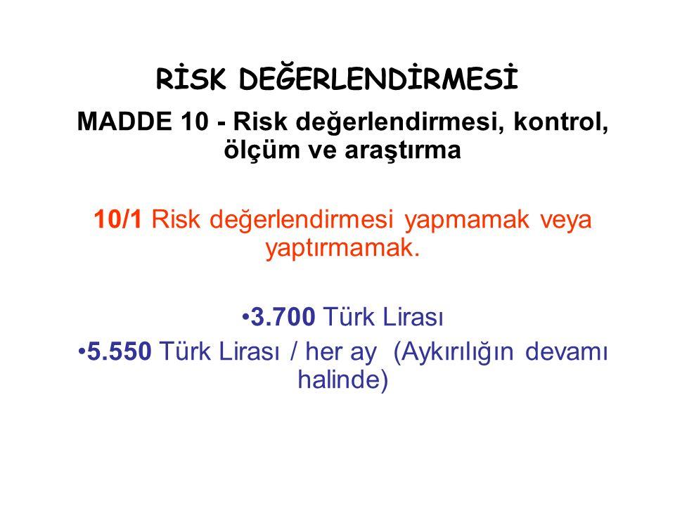 RİSK DEĞERLENDİRMESİ MADDE 10 - Risk değerlendirmesi, kontrol, ölçüm ve araştırma 10/1 Risk değerlendirmesi yapmamak veya yaptırmamak. 3.700 Türk Lira