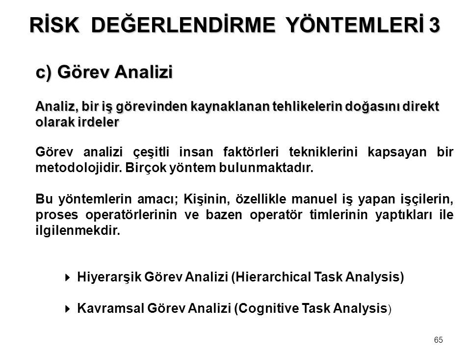 65 c) Görev Analizi Analiz, bir iş görevinden kaynaklanan tehlikelerin doğasını direkt olarak irdeler Analiz, bir iş görevinden kaynaklanan tehlikeler