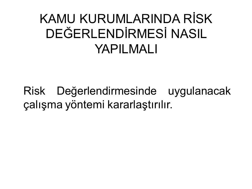 KAMU KURUMLARINDA RİSK DEĞERLENDİRMESİ NASIL YAPILMALI Risk Değerlendirmesinde uygulanacak çalışma yöntemi kararlaştırılır.