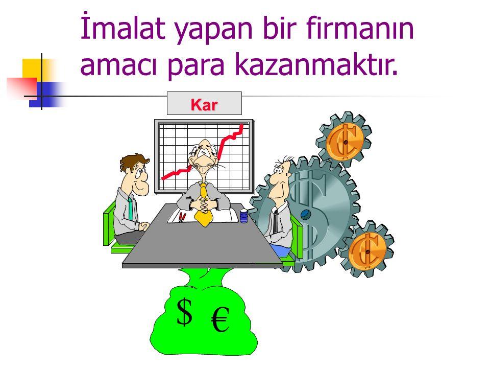 İmalat yapan bir firmanın amacı para kazanmaktır. $ €