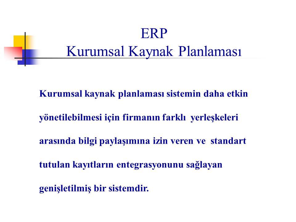 ERP Kurumsal Kaynak Planlaması Kurumsal kaynak planlaması sistemin daha etkin yönetilebilmesi için firmanın farklı yerleşkeleri arasında bilgi paylaşı